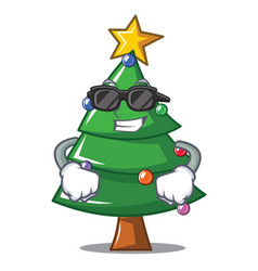 Super cool christmas tree character cartoon vector