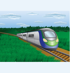 the modern train in the nature landscape vector image