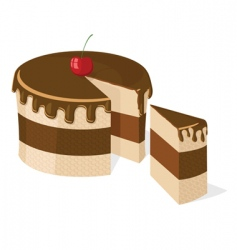 vector sliced chocolate cake vector image vector image