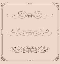 vintage ornaments and frames on beige background vector image
