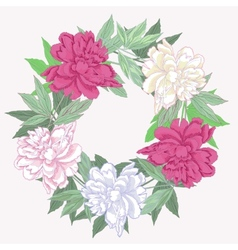 Wreath with pink and white peonies vector