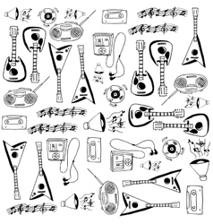 Doodle with hand draw music set vector