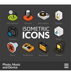 Isometric outline icons set 6 vector