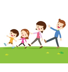 Cute family walking vector