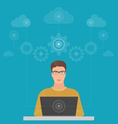 Man big data software engineer programmer with vector
