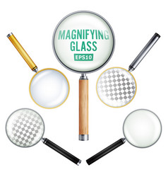 Realistic magnifying glass  set of vector