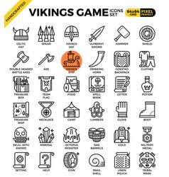 Fancy vikings game icons vector