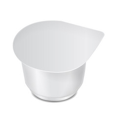 Round white plastic container with plastic wrap vector