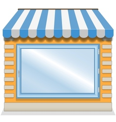 Cute shop icon with blue awnings vector