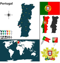Portugal map world vector