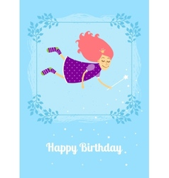 Birthday card with fairy vector