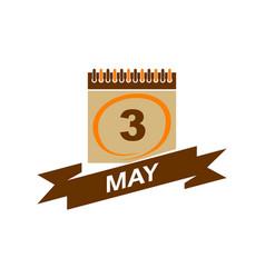 3 may calendar with ribbon vector