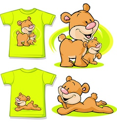Kid shirt with cute bear in love printed - vector