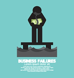 Banknote hang on mans neck business failures vector