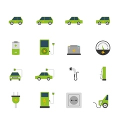 Electric car icon set vector
