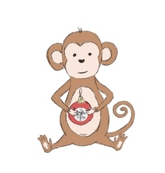Chinese lunar new year monkey holding christmas vector