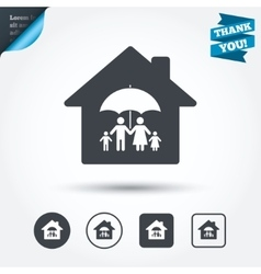 Complete family home insurance icon vector