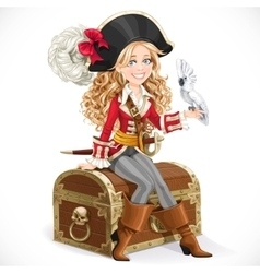 Cute pirate girl with parrot sit on big chest vector