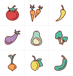 Icons style icons set vegetable vector