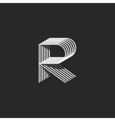 Isometric letter R logo mockup modern monogram vector image