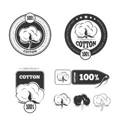 Cotton vintage logo labels and badges set vector