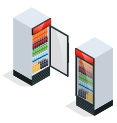 Commercial refrigerator to store drinks and vector
