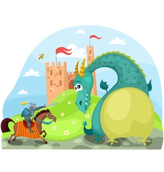 Dragon and knight vector