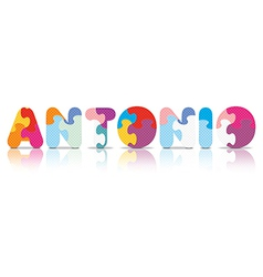 Antonio written with alphabet puzzle vector