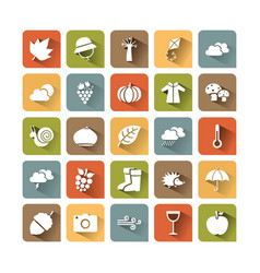 autumn icon set on colored squares with shade vector image