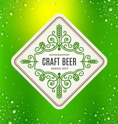 Beer label with flourishes emblem vector image vector image