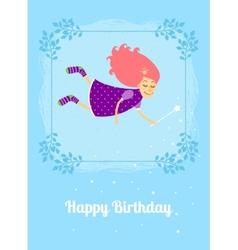 Birthday card with fairy vector