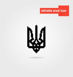 Black pixel art ukrainian emblem vector
