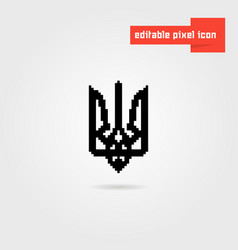 black pixel art ukrainian emblem vector image vector image