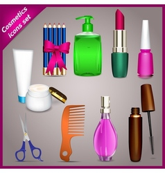 Cosmetics icons set vector image