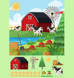 Cows and vegetables in the farmyard vector