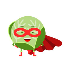 Cute cartoon cabbage superhero in mask and red vector