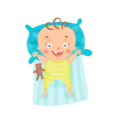 Cute cartoon smiling baby lying in his bed vector