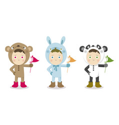 cute children in animal suit vector image vector image