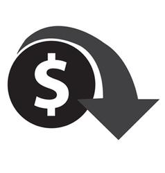 Dollar decrease icon vector