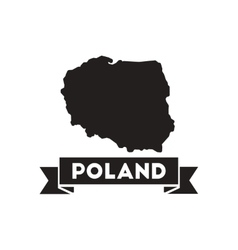 Flat icon in black and white map of poland vector