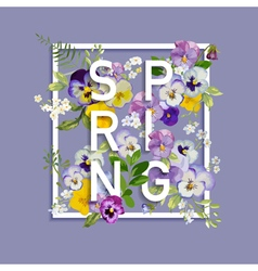 Floral Spring Graphic Design - with Pansy Flowers vector image vector image