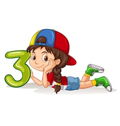 Girl holding number three vector