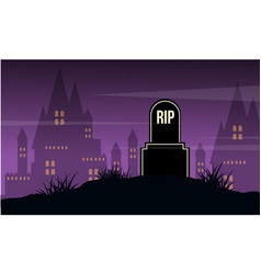 graveyard and castle landscape halloween day vector image vector image
