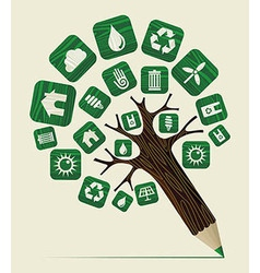 Green world concept pencil tree vector image