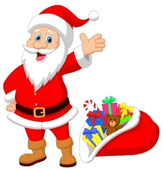 Happy santa clause cartoon with gift vector