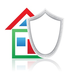 house and shield concept vector image vector image