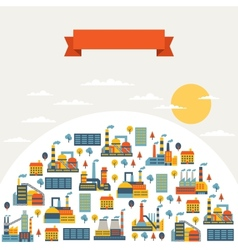 Industrial factory buildings background vector image