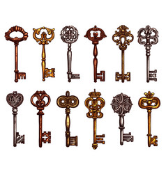 Isolated icons sketch of vintage keys vector