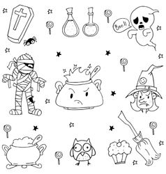 Many Element Halloween in doodle vector image vector image