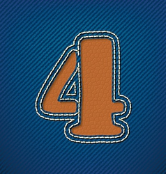 Number 4 made from leather on jeans background vector